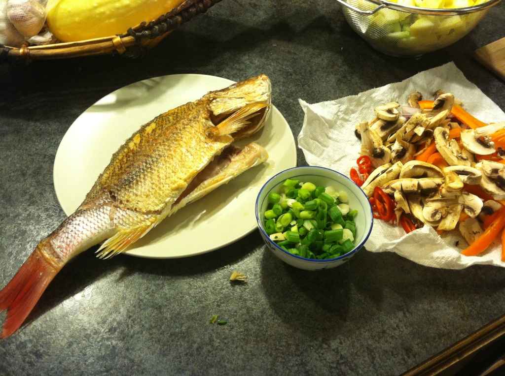 Ingredients for fish with ginger and soy sauce